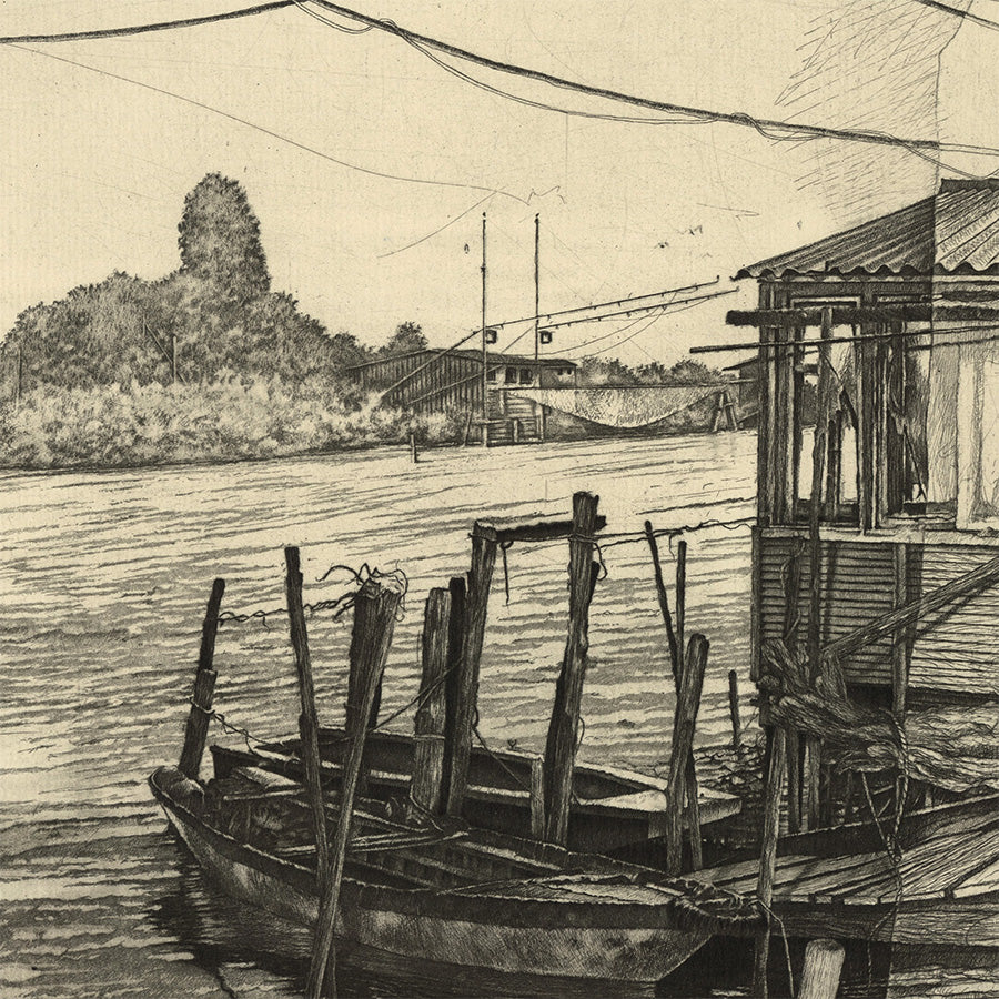 Livio Ceschin - Barche a Riposa - Row Boats at Rest - etching drypoint - pontoon - detail
