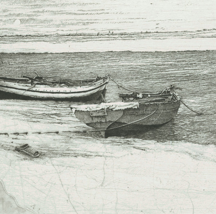 Livio Ceschin - Barche Stanche a Riva - Worn-Out Boats Ashore - etching drypoint