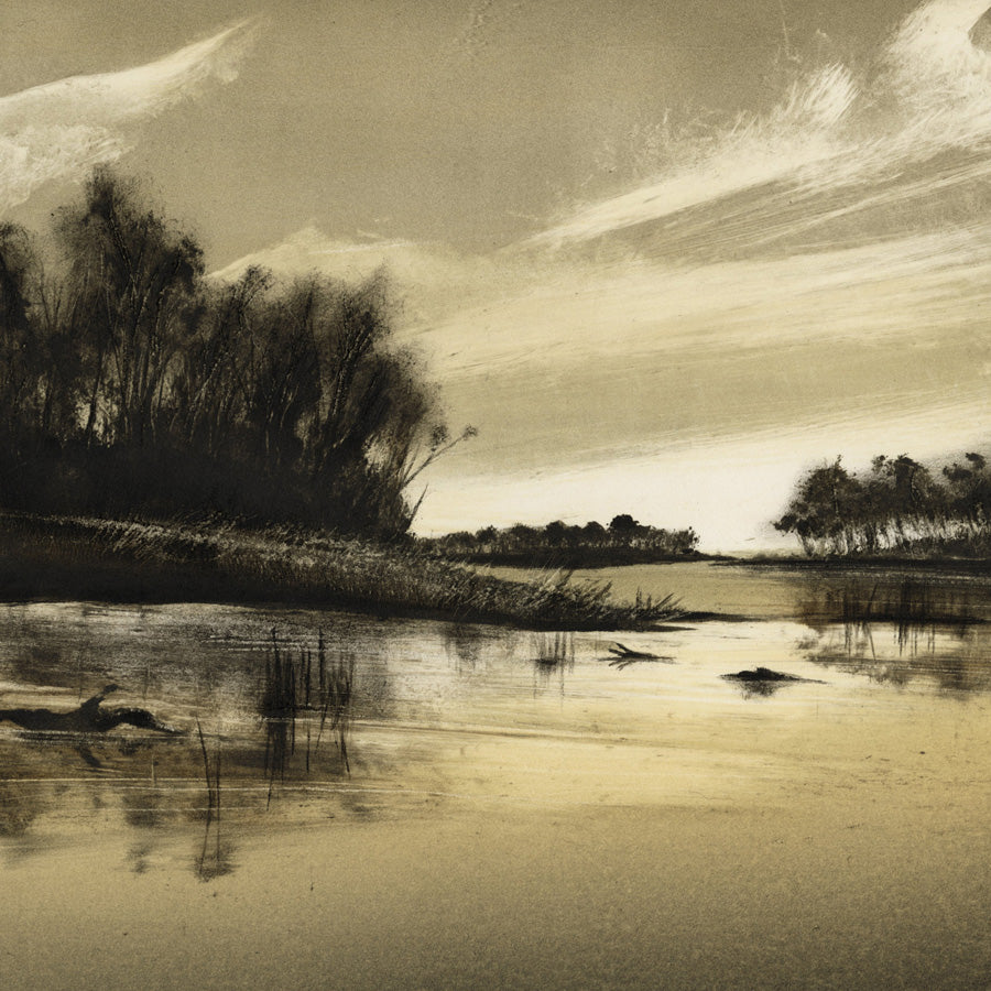 Marketa Kemp - Murray River IV - Monoprint - 2018, beautiful waterscape at dawn.