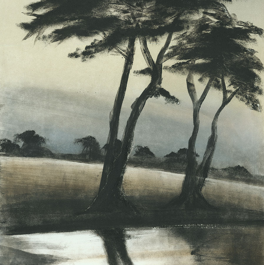 Marketa Kemp - Williamstown Pines Australia - monotype - pins maritimes - reflection in pond