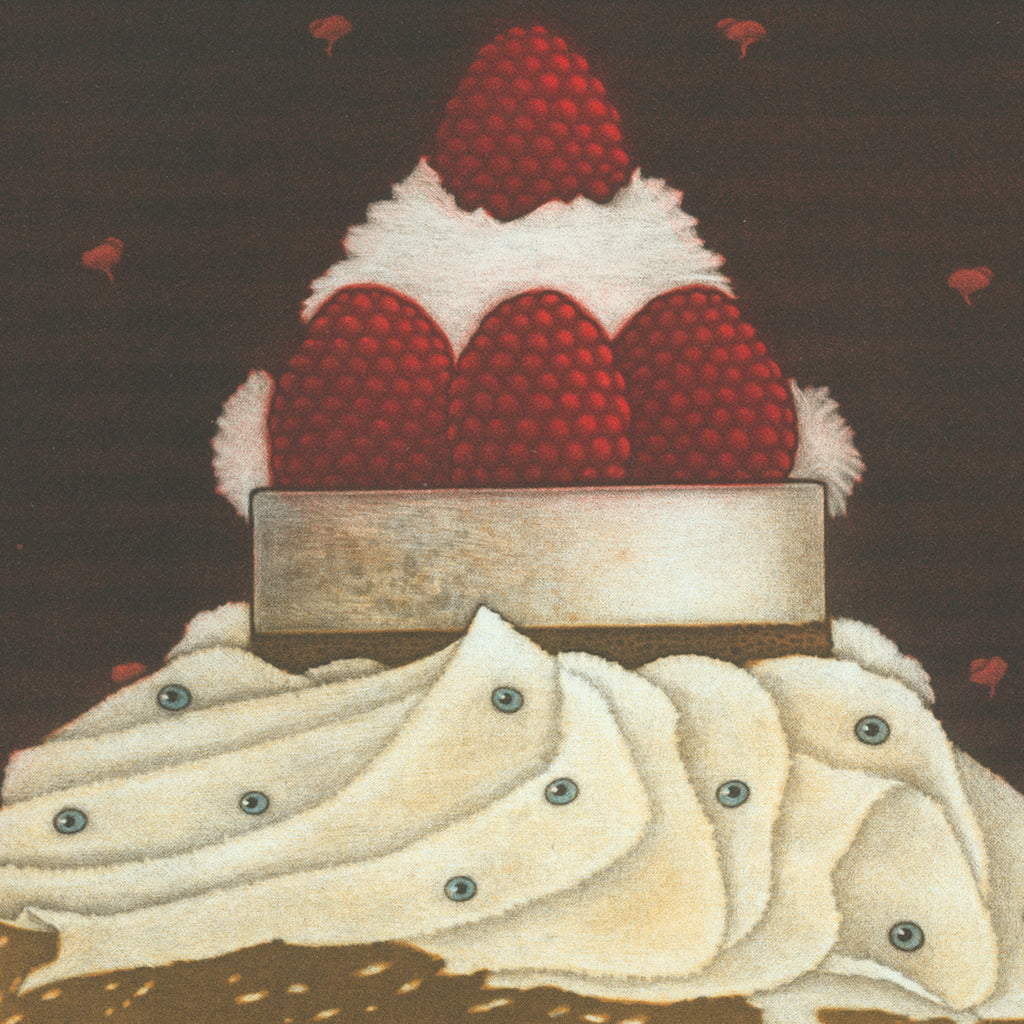 Michel Estebe - De la Creme des yeux et quatre framboises - cream eyes and raspberries - color mezzotint