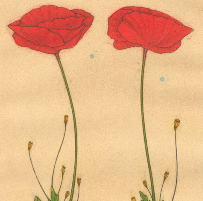 Color mezzotint - by ESTEBE, Michel - titled: Two Poppies