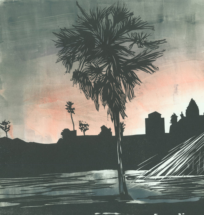 Nikki Barber - Angkor Wat, Cambodia (muted, CE 2.2) - woodcut and monoprint - 2017