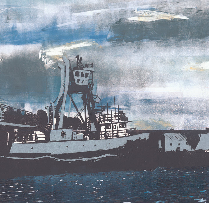 Nikki Barber - Fishing Boats at the Docks - woodcut and monotype - 2016