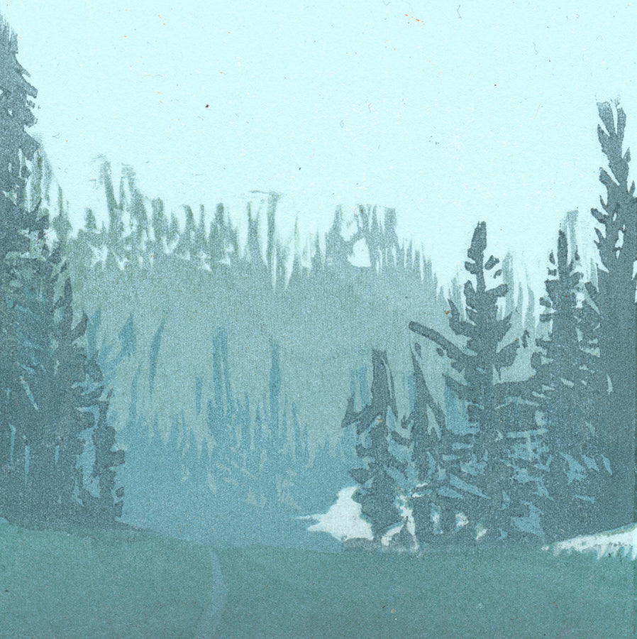 Nikki Barber - Marmot Pass - Washington State - color woodcut