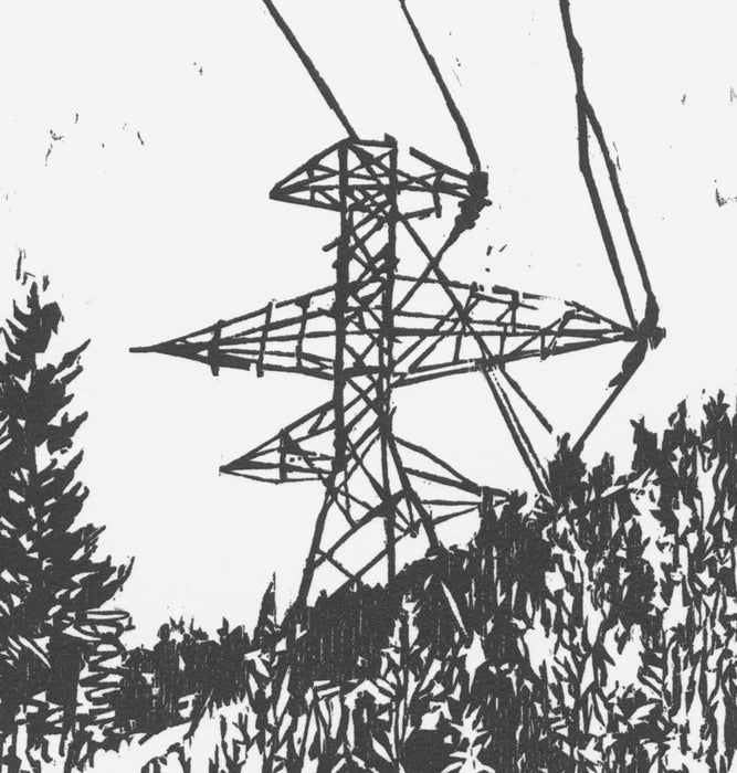 Nikki Barber - Powerlines - woodcut - 2018