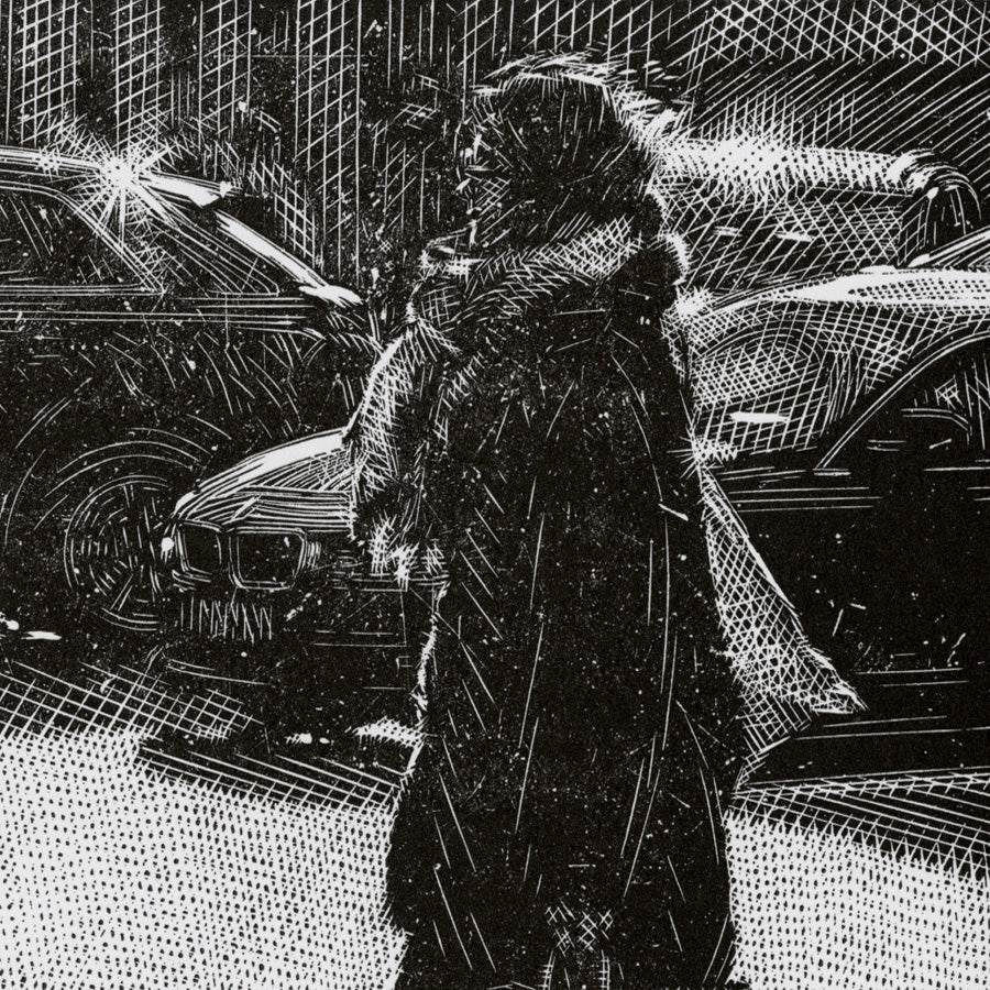 Olesva Dzhurayeva - Day by Day - linocut - edition 18 of 20,  created in 2020, detail of a busy city scene