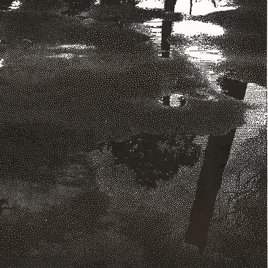 Olesya Dzhuraeva - After the Rain - light and tree tunks reflected in puddles - detail