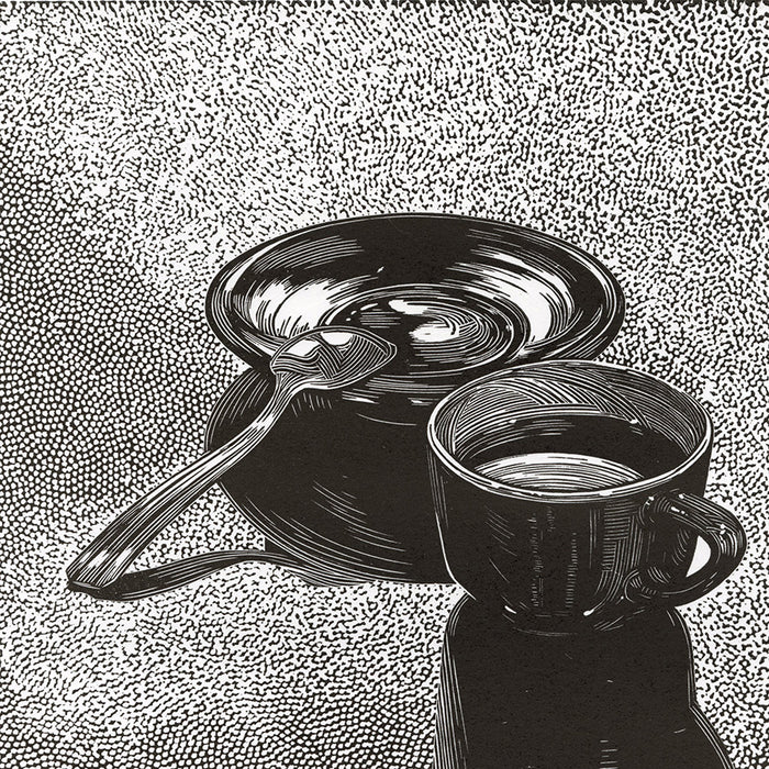 Olesya Dzhuraeva - Early Morning - coffee cup saucer spoon - linocut 2016 - detail