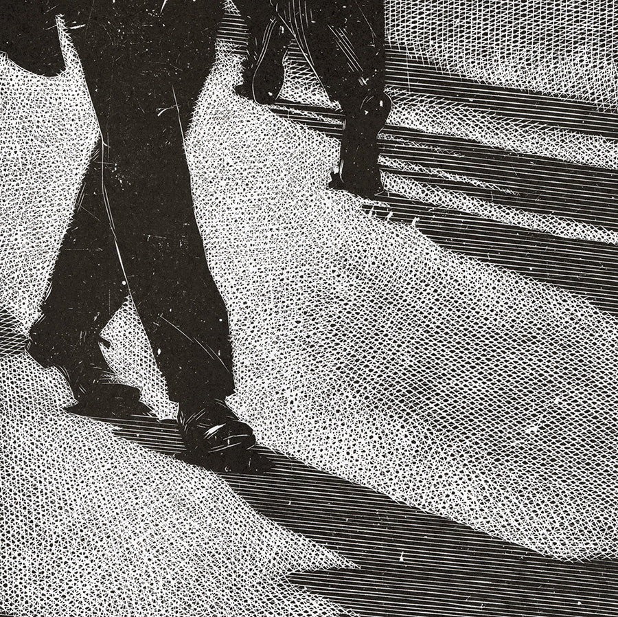 Olesya Dzhurayeva - Ordinary Day - passerby - passersby - men's shoes legs street - detail