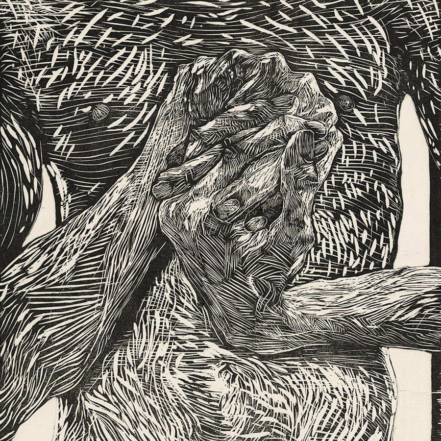 Paul DeRuvo - Hands - woodcut - wringing hands - male nude - detail
