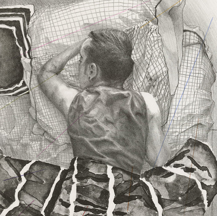 Paul DeRuvo - Keep Loving - lithograph - young man sleeping - detail