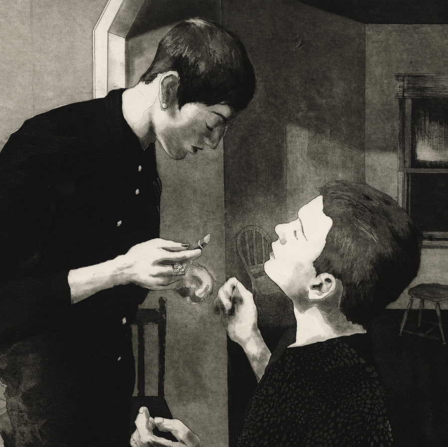 Paul DeRuvo - Ritual - etching aquatint drypoint - young men putting on lipstick - detail
