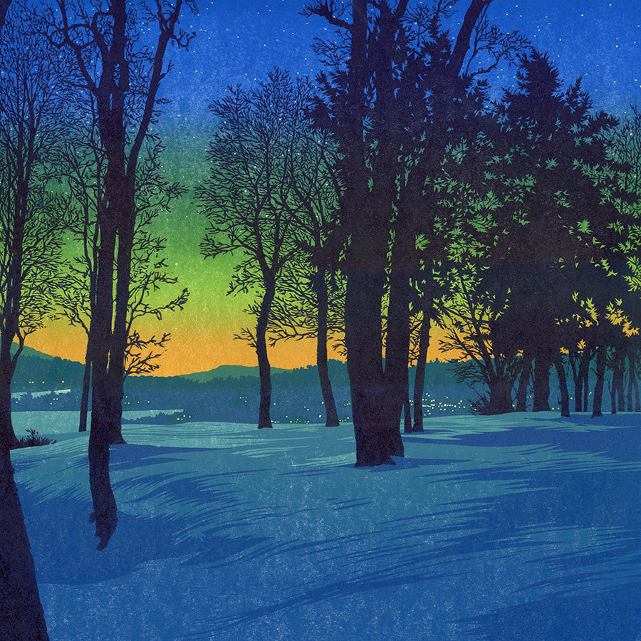 William H. Hays - Twilight - large color linocut reduction - yellow dusk over blue snow - detail