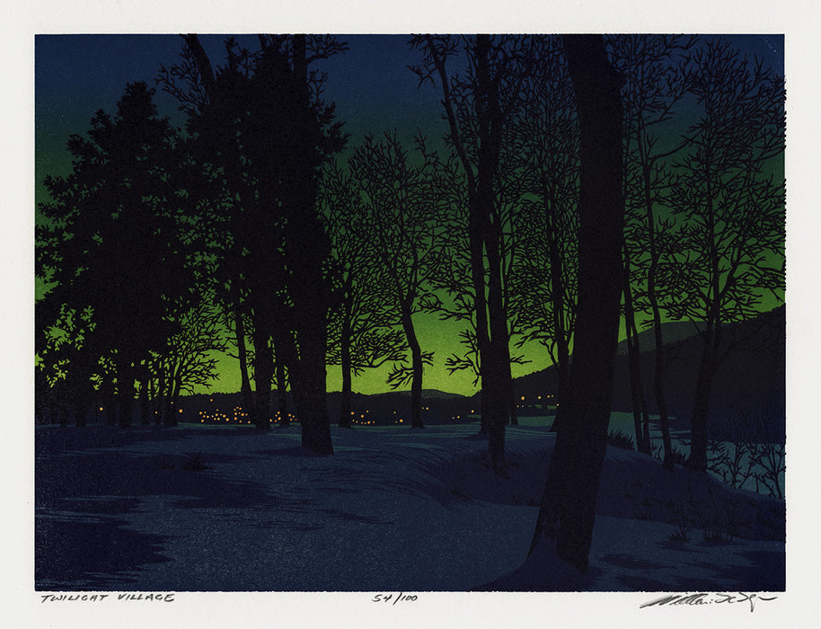 Color linocut reduction - by HAYS, William H. - titled: Twilight Village