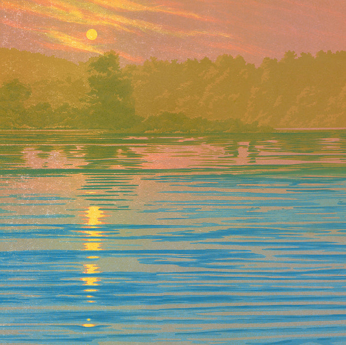 William H. Hays - Serenity - large color linocut reduction - orange sunset over blue water