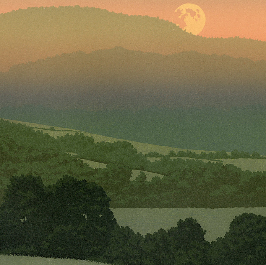 William H Hays - Summer Moon - linocut - New England rolling hills