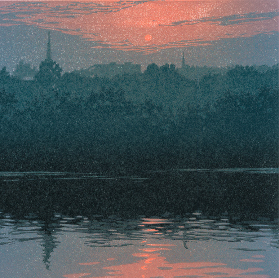 William Hays - Sultry Evening - color linocut - 2017