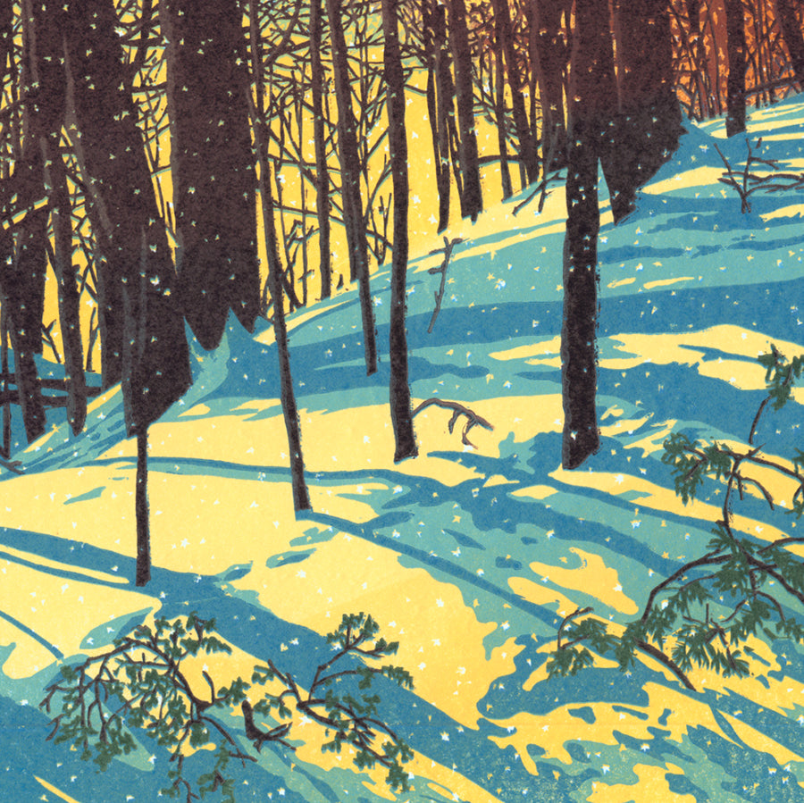 William Hays - Sunshine Snowfall - color linocut - 2018