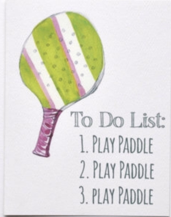 $20 paddle tennis note card - to do list