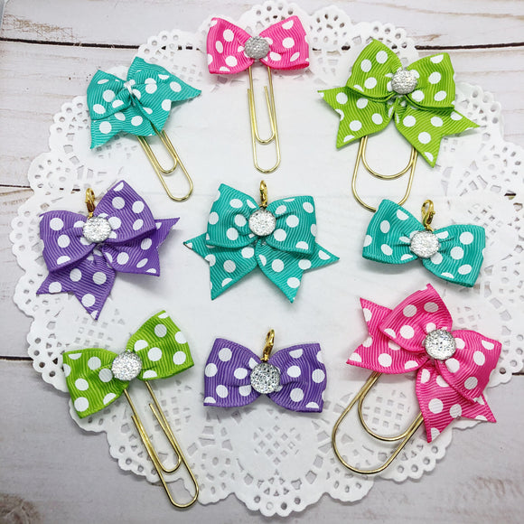 Bright & Colorful Dots Planner Clips or Charms