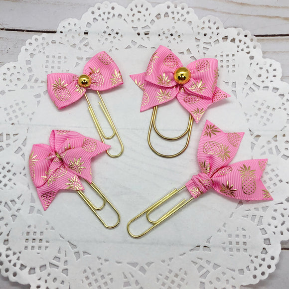 Gold Pineapples on Pink Planner Bow Clip, Flag Clip or Bow Charm