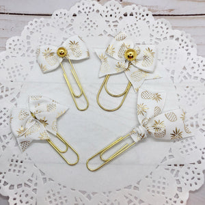 Gold Pineapples on White Planner Bow Clip, Flag Clip or Bow Charm