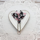 Vintage Pink Roses on Black Planner Bow Clip, Flag Clip or Bow Charm