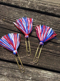 Patriotic 4th of July - Set of 3 Tassel Planner Clips / Bookmarks, Planner Accessories, TN Accessories