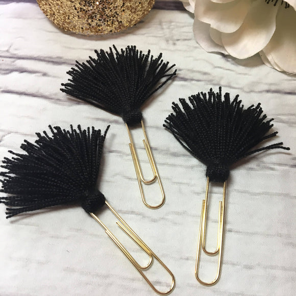 Midnight - Choice of 1, 2 or 3 Tassel Planner Clips / Bookmarks, Planner Accessories, TN Accessories