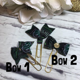 Slytherin - Harry Potter Inspired - Choice of Ribbon Bow/Flag Planner Clips / Bookmarks, Planner Accessories, TN Accessories