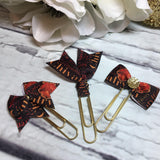 Gryffindor - Harry Potter Inspired - Choice of Ribbon Bow/Flag Planner Clips / Bookmarks, Planner Accessories, TN Accessories