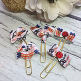 Statue of Liberty & US Flag - Ribbon Bow Planner Clips / Bookmarks, Planner Accessories, TN Accessories