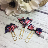 US Flag inspired - Ribbon Bow Planner Clips / Bookmarks, Planner Accessories, TN Accessories