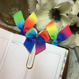 Rainbow Brights - Set of 3 Ribbon Planner Clips / Bookmarks, Planner Accessories, TN Accessories