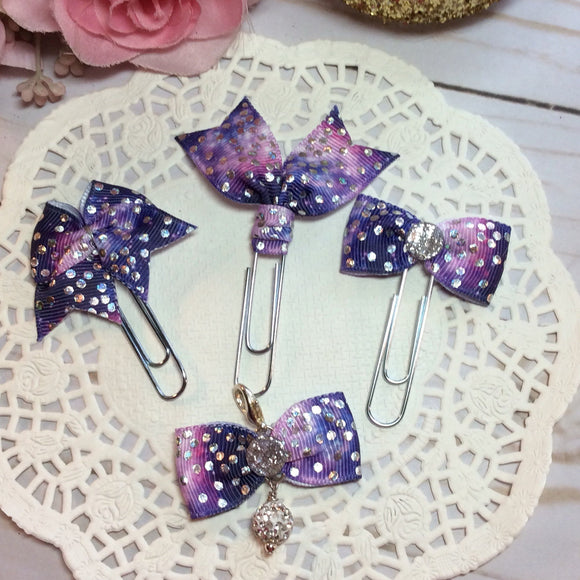 Holographic Dots on Galaxy Print - Planner Bow, Bow Charm or Flag Clip, Planner Accessories, TN Accessories