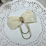 Glittery Cream Bow - Wide Planner Bow Clip or Bow Charm, Planner Accessories, TN Accessories