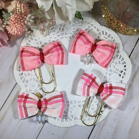 Valentine Plaid Wide Planner Bow Clip or Bow Charm, Planner Accessories, TN Accessories