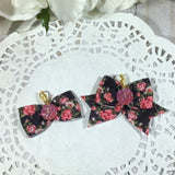 Vintage Strawberry Roses on Black - Planner Bow Clip or Bow Charm