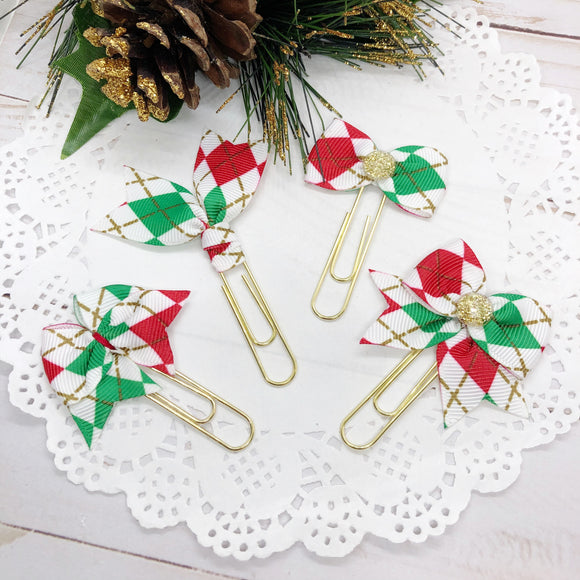 Christmas Argyle Planner Clips or Charms