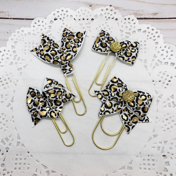 Black & Gold Leopard on White Planner Bow Clip, Flag Clip or Bow Charm