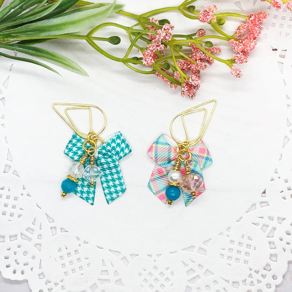 Spring Mini Bow Teardrop Clip, Wide Dangle Clip or Charm