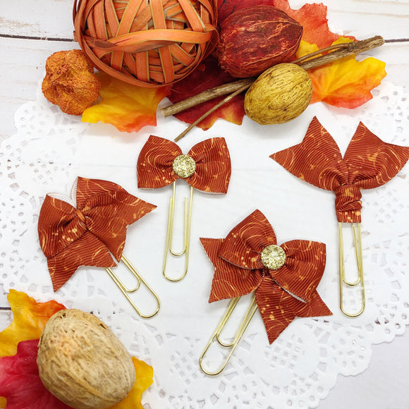 Fall Pumpkins on Rust Planner Clips or Charms