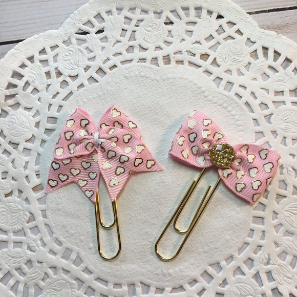 Gold & White Hearts on Pink Planner Bow Clips