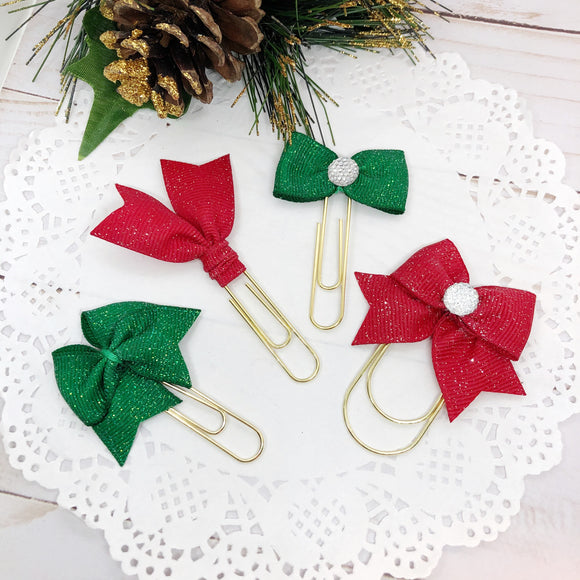 Red or Green Glitter Christmas Planner Clips or Charms