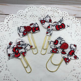 Kitty in Red Planner Bow Clip, Flag Clip or Bow Charm