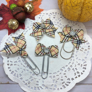Fall Plaid Planner Bow Clip, Flag Clip or Bow Charm