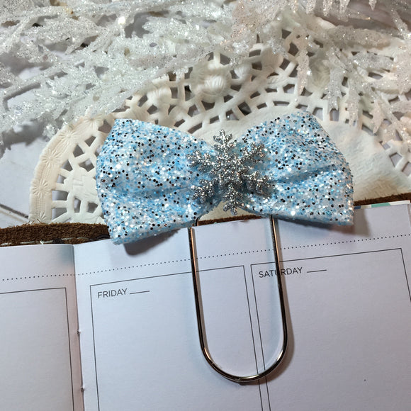 Glittery Snowflakes - Planner Bow Clip or Bow Charm