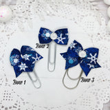 Crystal Snowflakes Planner Bow Clip, Flag Clip or Bow Charm
