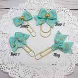 Gold Pineapples on Mint Planner Bow Clip, Flag Clip or Bow Charm